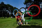 28 July 2021; Adri Arnaus of Spain, right, with the Olympic rings during a practice round at the Kasumigaseki Country Club during the 2020 Tokyo Summer Olympic Games in Kawagoe, Saitama, Japan. Photo by Ramsey Cardy/Sportsfile