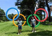 28 July 2021; Shane Lowry, left, and Rory McIlroy of Ireland with the Olympic rings during a practice round at the Kasumigaseki Country Club during the 2020 Tokyo Summer Olympic Games in Kawagoe, Saitama, Japan. Photo by Ramsey Cardy/Sportsfile