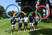28 July 2021; Irish golfers and backroom members, from left, caddie Alan Lowry, golfer Shane Lowry, team manager Neil Manchip, caddie Harry Diarmond and Rory McIlroy, with the Olympic rings during a practice round at the Kasumigaseki Country Club during the 2020 Tokyo Summer Olympic Games in Kawagoe, Saitama, Japan. Photo by Ramsey Cardy/Sportsfile