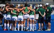 28 July 2021; Ireland players huddle after the women's pool A group stage match between Germany and Ireland at the Oi Hockey Stadium during the 2020 Tokyo Summer Olympic Games in Tokyo, Japan. Photo by Brendan Moran/Sportsfile