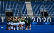 28 July 2021; The Ireland hockey team huddle after the women's pool A group stage match between Germany and Ireland at the Oi Hockey Stadium during the 2020 Tokyo Summer Olympic Games in Tokyo, Japan. Photo by Brendan Moran/Sportsfile