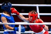 28 July 2021; Aoife O'Rourke of Ireland, right, and Qian Li of China during their women's middleweight round of 16 bout at the Kokugikan Arena during the 2020 Tokyo Summer Olympic Games in Tokyo, Japan. Photo by Stephen McCarthy/Sportsfile