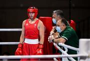 28 July 2021; Aoife O'Rourke of Ireland with coaches John Conlan and Zaur Antia, right, before her women's middleweight round of 16 bout at the Kokugikan Arena during the 2020 Tokyo Summer Olympic Games in Tokyo, Japan. Photo by Stephen McCarthy/Sportsfile