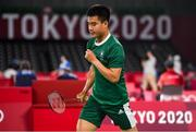28 July 2021; Nhat Nyugen of Ireland celebrates a score during the men's singles group play stage match against Tzu-Wei Wang of Chinese Taipei at the Musashino Forest Sport Plaza during the 2020 Tokyo Summer Olympic Games in Tokyo, Japan. Photo by Brendan Moran/Sportsfile