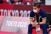28 July 2021; Ireland Coach Davis Efraim during the men's singles group play stage match between Nhat Nyugen of Ireland and Tzu-Wei Wang of Chinese Taipei at the Musashino Forest Sport Plaza during the 2020 Tokyo Summer Olympic Games in Tokyo, Japan. Photo by Brendan Moran/Sportsfile