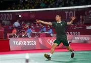 28 July 2021; Nhat Nyugen of Ireland during the men's singles group play stage match against Tzu-Wei Wang of Chinese Taipei at the Musashino Forest Sport Plaza during the 2020 Tokyo Summer Olympic Games in Tokyo, Japan. Photo by Brendan Moran/Sportsfile