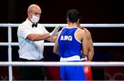 28 July 2021; Referee Diarmuid Mac Diarmada, from Newbridge, Kildare, during the men's featherweight round of 16 bout between Chatchai-Decha Butdee of Thailand and Mirco Jehiel Cuello of Argentina at the Kokugikan Arena during the 2020 Tokyo Summer Olympic Games in Tokyo, Japan. Photo by Stephen McCarthy/Sportsfile
