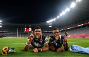 28 July 2021; Meli Derenalagi, left, and Bolaca Napolioni of Fiji with their gold medals following victory in the Men's Rugby Sevens gold medal match between Fiji and New Zealand at the Tokyo Stadium during the 2020 Tokyo Summer Olympic Games in Tokyo, Japan. Photo by Ramsey Cardy/Sportsfile