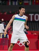 28 July 2021; Tzu-Wei Wang of Chinese Taipei celebrates a score during the men's singles group play stage match against Nhat Nyugen of Ireland at the Musashino Forest Sport Plaza during the 2020 Tokyo Summer Olympic Games in Tokyo, Japan. Photo by Brendan Moran/Sportsfile