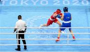 28 July 2021; Aoife O'Rourke of Ireland, left, and Qian Li of China during their women's middleweight round of 16 bout at the Kokugikan Arena during the 2020 Tokyo Summer Olympic Games in Tokyo, Japan. Photo by Stephen McCarthy/Sportsfile