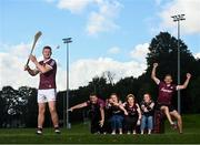 28 July 2021; #HurlingToTheCore ambassador Joe Canning, pictured alongside Áine Flaherty, Ryan Folan, Shíle Flaherty, Sinéad Flaherty and DD Flaherty from Galway who star in this year's second series of Bord Gáis Energy's GAAGAABox, which features the most passionate hurling fans across the country filmed in their front-rooms as they experience the agony and ecstasy of following their counties' fortunes from home. You can watch GAAGAABox on Bord Gáis Energy's #HurlingToTheCore YouTube channel throughout the Senior Hurling Championship. Photo by David Fitzgerald/Sportsfile