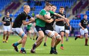 28 July 2021; Shane Duffy of South East on his way to score a try despite the efforts of Ethan Fennell, left, and Christopher Ascough of Metro during the Shane Horgan Cup Round 1 match between Metro and South East at Energia Park in Dublin. Photo by Sam Barnes/Sportsfile