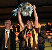 28 July 2021; Kilkenny captain Harry Shine lifts the cup after the 2021 Electric Ireland Leinster Minor Hurling Championship Final match between Kilkenny and Wexford at Netwatch Cullen Park in Carlow. Photo by Matt Browne/Sportsfile
