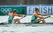 29 July 2021; Aileen Crowley, left, and Monika Dukarska of Ireland cross the finish line in fifth place during the Women's Pair final B at the Sea Forest Waterway during the 2020 Tokyo Summer Olympic Games in Tokyo, Japan. Photo by Seb Daly/Sportsfile