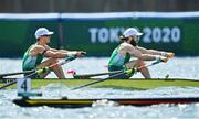 29 July 2021; Fintan McCarthy, left, and Paul O'Donovan of Ireland on their way to winning the Men's Lightweight Double Sculls final at the Sea Forest Waterway during the 2020 Tokyo Summer Olympic Games in Tokyo, Japan. Photo by Brendan Moran/Sportsfile