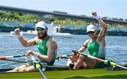 29 July 2021; Paul O'Donovan, left, and Fintan McCarthy of Ireland celebrate after winning the Men's Lightweight Double Sculls final at the Sea Forest Waterway during the 2020 Tokyo Summer Olympic Games in Tokyo, Japan. Photo by Brendan Moran/Sportsfile