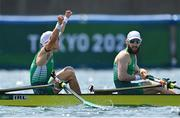 29 July 2021; Fintan McCarthy, left, and Paul O'Donovan of Ireland celebrate after winning the Men's Lightweight Double Sculls final at the Sea Forest Waterway during the 2020 Tokyo Summer Olympic Games in Tokyo, Japan. Photo by Brendan Moran/Sportsfile