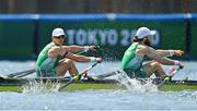 29 July 2021; Fintan McCarthy, left, and Paul O'Donovan of Ireland cross the line to win the Men's Lightweight Double Sculls final at the Sea Forest Waterway during the 2020 Tokyo Summer Olympic Games in Tokyo, Japan. Photo by Brendan Moran/Sportsfile