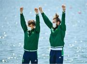 29 July 2021; Fintan McCarthy, left, and Paul O'Donovan of Ireland celebrate after winning the Men's Lightweight Double Sculls final at the Sea Forest Waterway during the 2020 Tokyo Summer Olympic Games in Tokyo, Japan. Photo by Seb Daly/Sportsfile