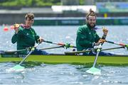 29 July 2021; Fintan McCarthy, left, and Paul O'Donovan of Ireland celebrate with their gold medals after winning the Men's Lightweight Double Sculls final at the Sea Forest Waterway during the 2020 Tokyo Summer Olympic Games in Tokyo, Japan. Photo by Brendan Moran/Sportsfile
