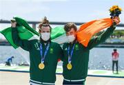 29 July 2021; Paul O'Donovan, left, and Fintan McCarthy of Ireland celebrate with their gold medals after winning the Men's Lightweight Double Sculls final at the Sea Forest Waterway during the 2020 Tokyo Summer Olympic Games in Tokyo, Japan. Photo by Brendan Moran/Sportsfile