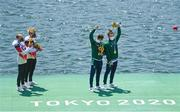 29 July 2021; Fintan McCarthy and Paul O'Donovan of Ireland celebrate with their gold medals, alongside silver medalists Jonathan Rommelmann and Jason Osborne of Germany, after the Men's Lightweight Double Sculls final at the Sea Forest Waterway during the 2020 Tokyo Summer Olympic Games in Tokyo, Japan. Photo by Seb Daly/Sportsfile