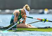 29 July 2021; Sanita Pušpure of Ireland reacts after finishing in fifth place in the Women's Single Sculls semi-final A/B at the Sea Forest Waterway during the 2020 Tokyo Summer Olympic Games in Tokyo, Japan. Photo by Seb Daly/Sportsfile
