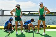 29 July 2021; Fintan McCarthy, right, and Paul O'Donovan of Ireland after winning the Men's Lightweight Double Sculls final at the Sea Forest Waterway during the 2020 Tokyo Summer Olympic Games in Tokyo, Japan. Photo by Seb Daly/Sportsfile