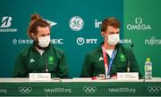29 July 2021; Paul O'Donovan, left, and Fintan McCarthy of Ireland during a media conference after winning gold in the Men's Lightweight Double Sculls at the Sea Forest Waterway during the 2020 Tokyo Summer Olympic Games in Tokyo, Japan. Photo by Seb Daly/Sportsfile