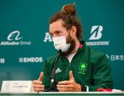 29 July 2021; Paul O'Donovan of Ireland speaking during a media conference after winning gold in the Men's Lightweight Double Sculls, with team-mate Fintan McCarthy, at the Sea Forest Waterway during the 2020 Tokyo Summer Olympic Games in Tokyo, Japan. Photo by Seb Daly/Sportsfile