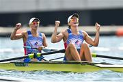 29 July 2021; Vasilisa Stepanova, left, and Elena Oriabinskaia of Russian Olympic Committee celebrate after winning silver in the Women's Double Sculls final at the Sea Forest Waterway during the 2020 Tokyo Summer Olympic Games in Tokyo, Japan. Photo by Seb Daly/Sportsfile