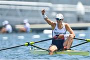 29 July 2021; Victoria Thornley of Great Britain celebrates after finishing second in the Women's Single Sculls semi-final A/B at the Sea Forest Waterway during the 2020 Tokyo Summer Olympic Games in Tokyo, Japan. Photo by Seb Daly/Sportsfile