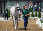 29 July 2021; Austin O'Connor and Colorado Blue during the eventing horse inspection at the Equestrian Park during the 2020 Tokyo Summer Olympic Games in Tokyo, Japan. Photo by Pierre Costabadie/Sportsfile