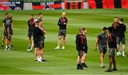 29 July 2021; Georgie Kelly of Bohemians walking the pitch with team-mates before the UEFA Europa Conference League second qualifying round second leg match between Bohemians and F91 Dudelange at Aviva Stadium in Dublin. Photo by Eóin Noonan/Sportsfile