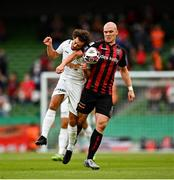 29 July 2021; Georgie Kelly of Bohemians in action against Charles Morren of F91 Dudelange during the UEFA Europa Conference League second qualifying round second leg match between Bohemians and F91 Dudelange at Aviva Stadium in Dublin. Photo by Eóin Noonan/Sportsfile