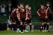 29 July 2021; Anto Breslin of Bohemians celebrates his side's second goal, scored by Georgie Kelly, during the UEFA Europa Conference League second qualifying round second leg match between Bohemians and F91 Dudelange at the Aviva Stadium in Dublin. Photo by Ben McShane/Sportsfile