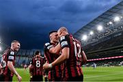 29 July 2021; Georgie Kelly of Bohemians, right, celebrates with team-mate Andy Lyons after scoiring his side's second goal during the UEFA Europa Conference League second qualifying round second leg match between Bohemians and F91 Dudelange at Aviva Stadium in Dublin. Photo by Eóin Noonan/Sportsfile