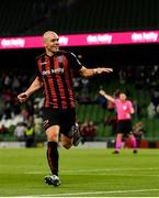 29 July 2021; Georgie Kelly of Bohemians celebrates after scoring his side's third goal during the UEFA Europa Conference League second qualifying round second leg match between Bohemians and F91 Dudelange at Aviva Stadium in Dublin. Photo by Eóin Noonan/Sportsfile