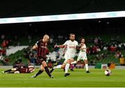 29 July 2021; Georgie Kelly of Bohemians shoots to score his side's third goal during the UEFA Europa Conference League second qualifying round second leg match between Bohemians and F91 Dudelange at Aviva Stadium in Dublin. Photo by Eóin Noonan/Sportsfile