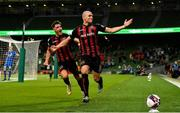 29 July 2021; Georgie Kelly of Bohemians celebrates after scoring his side's second goal during the UEFA Europa Conference League second qualifying round second leg match between Bohemians and F91 Dudelange at Aviva Stadium in Dublin. Photo by Eóin Noonan/Sportsfile