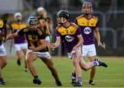 28 July 2021; Robbie Chapman of Wexford in action against Harry Shine of Kilkenny during the 2021 Electric Ireland Leinster Minor Hurling Championship Final match between Kilkenny and Wexford at Netwatch Cullen Park in Carlow. Photo by Matt Browne/Sportsfile