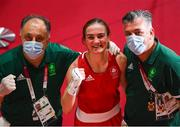 30 July 2021; Kellie Harrington of Ireland with coaches Zaur Antia, left, and John Conlan after defeating Rebecca Nicoli of Italy in their women's lightweight round of 16 bout at the Kokugikan Arena during the 2020 Tokyo Summer Olympic Games in Tokyo, Japan. Photo by Stephen McCarthy/Sportsfile