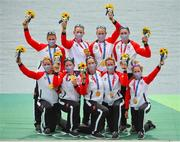 30 July 2021; Canada Women's Eight celebrate after winning gold in the Women's Eight final at the Sea Forest Waterway during the 2020 Tokyo Summer Olympic Games in Tokyo, Japan. Photo by Seb Daly/Sportsfile