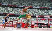 30 July 2021; Thomas Barr of Ireland in action during the his heat of the men's 400 metre hurdles at the Olympic Stadium during the 2020 Tokyo Summer Olympic Games in Tokyo, Japan. Photo by Brendan Moran/Sportsfile