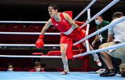 30 July 2021; Kellie Harrington of Ireland enters the ring before her women's lightweight round of 16 bout with Rebecca Nicoli of Italy at the Kokugikan Arena during the 2020 Tokyo Summer Olympic Games in Tokyo, Japan. Photo by Stephen McCarthy/Sportsfile