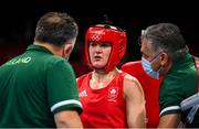 30 July 2021; Kellie Harrington of Ireland with coaches Zaur Antia, left, and John Conlan during her women's lightweight round of 16 bout with Rebecca Nicoli of Italy at the Kokugikan Arena during the 2020 Tokyo Summer Olympic Games in Tokyo, Japan. Photo by Stephen McCarthy/Sportsfile