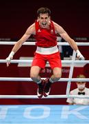 30 July 2021; Aidan Walsh of Ireland celebrates after defeating Merven Clair of Mauritius in their men's welterweight quarter-final bout at the Kokugikan Arena during the 2020 Tokyo Summer Olympic Games in Tokyo, Japan. Photo by Stephen McCarthy/Sportsfile