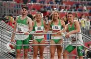 30 July 2021; The Ireland 4x400 mixed relay team, from left, Cillin Greene, Phil Healy, Sophie Becker and Christopher O'Donnell after their heat of the 4x400 metre mixed relay at the Olympic Stadium during the 2020 Tokyo Summer Olympic Games in Tokyo, Japan. Photo by Stephen McCarthy/Sportsfile