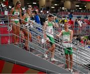 30 July 2021; The Ireland 4x400 mixed relay team, from left, Sophie Becker, Phil Healy, Cillin Greene and Christopher O'Donnell after their heat of the 4x400 metre mixed relay at the Olympic Stadium during the 2020 Tokyo Summer Olympic Games in Tokyo, Japan. Photo by Stephen McCarthy/Sportsfile