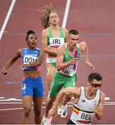 30 July 2021; Christopher O'Donnell and Sophie Becker of Ireland during of the 4x400 metre mixed relay at the Olympic Stadium during the 2020 Tokyo Summer Olympic Games in Tokyo, Japan. Photo by Stephen McCarthy/Sportsfile